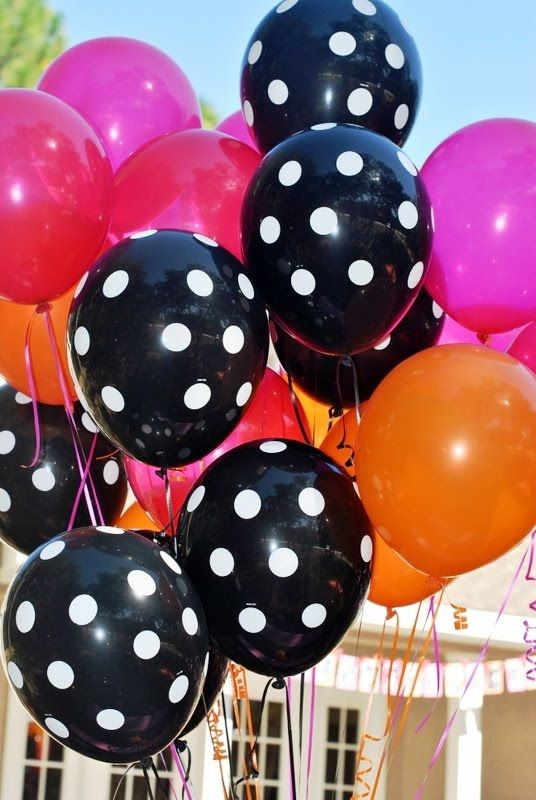 The happiness is in a polkadot balloon polkadots for Red and white polka dot decorations