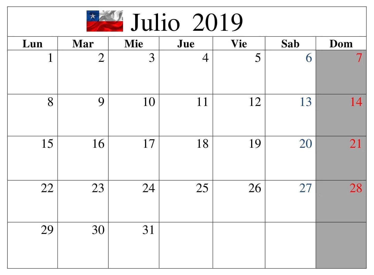 Calendario 2019 Julio Chile.Calendario Julio 2019 Estilos Chile Calendario Julio 2019