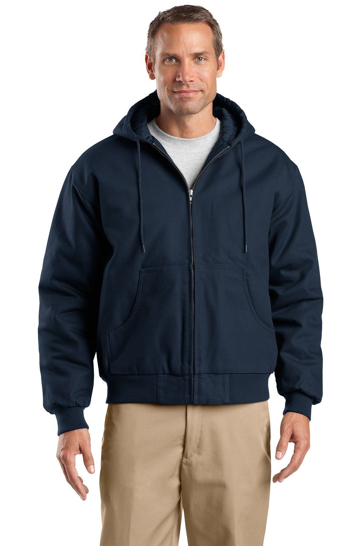 CornerStone Tall Duck Cloth Hooded Work Jacket TLJ763H Navy