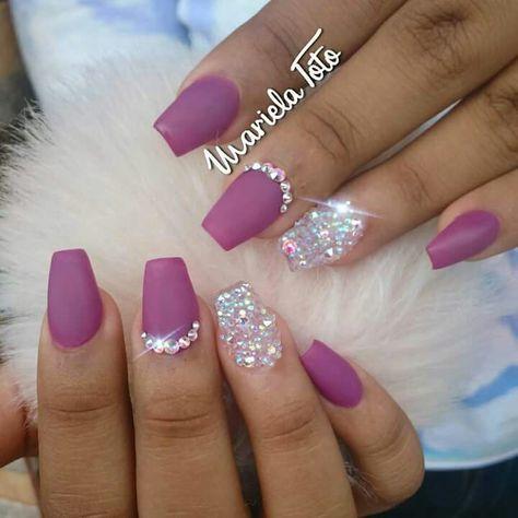 ideas for nails purple rhinestones bling  nails design
