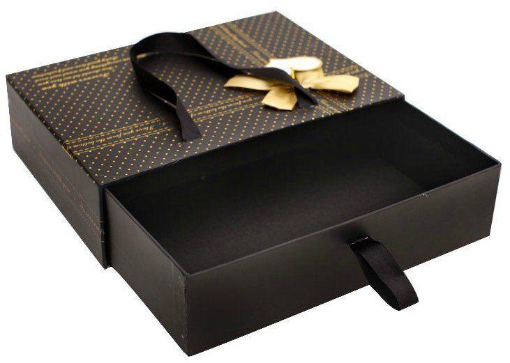 Black ribbon handle drawer gift box luxury gift box with