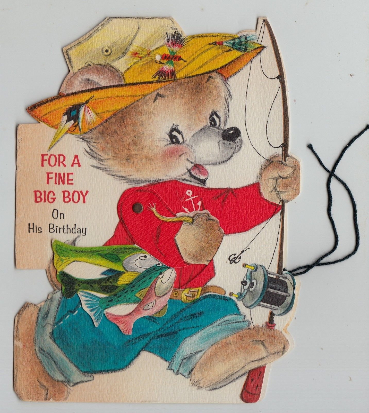 Vintage bear gone fishing with movable arm die cut birthday greeting vintage bear gone fishing with movable arm die cut birthday greeting card ebay kristyandbryce Choice Image