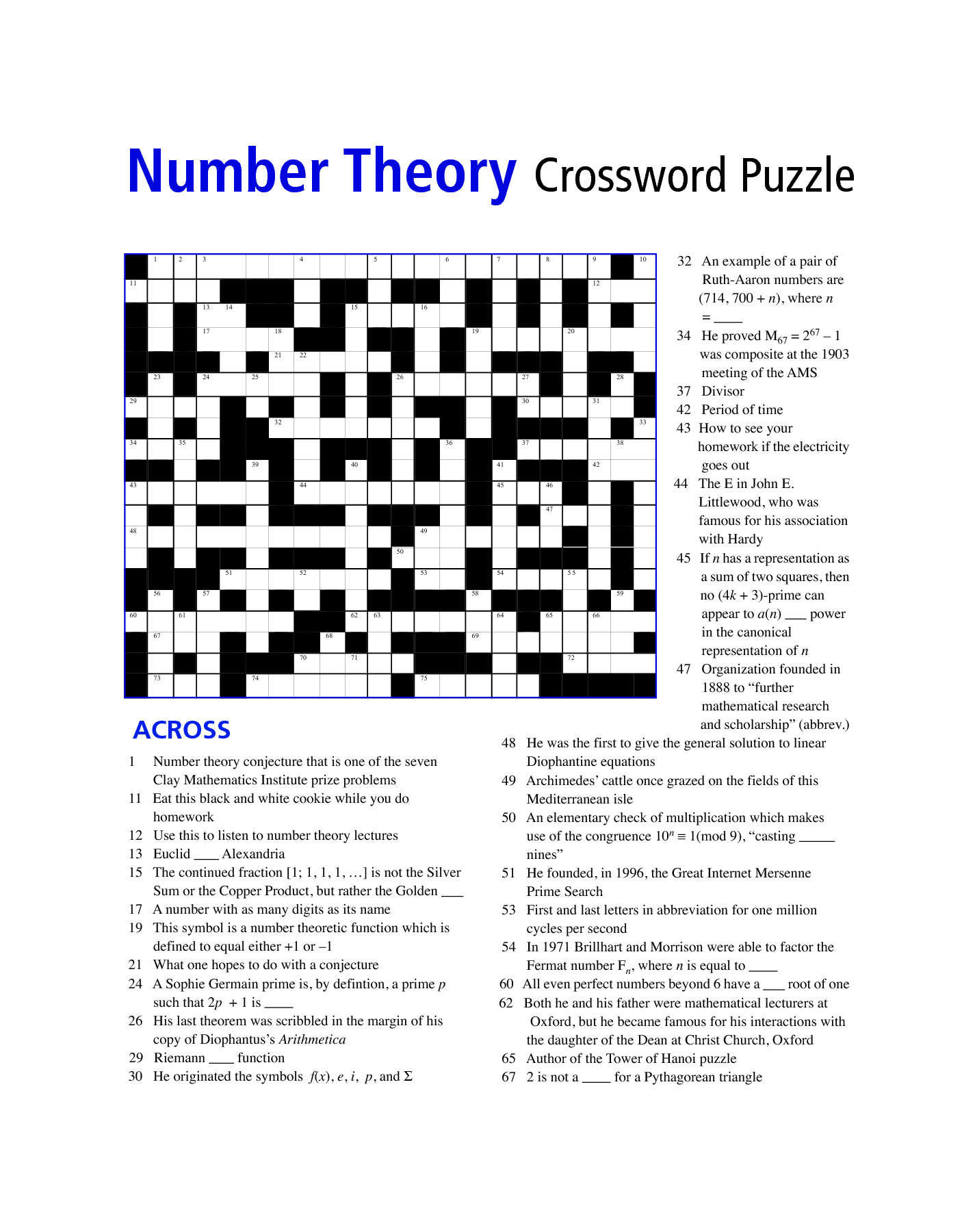 Student Math Puzzle Worksheet