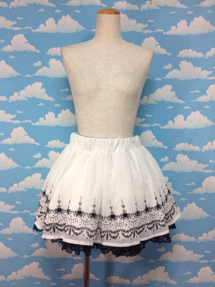 Chandelier Mini Skirt in White x Black from TRALALA - Lolita Desu ...