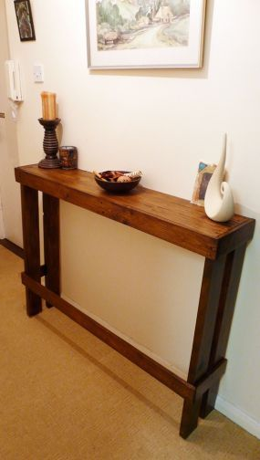 Hall table from old pallet. It is so hard to find skinny tables, love this idea!
