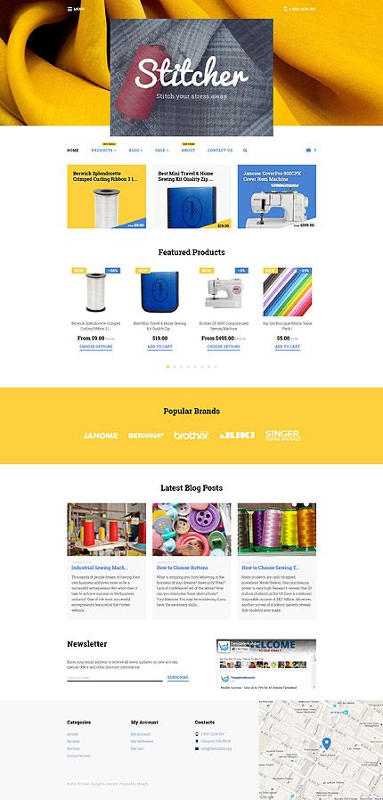 Stitcher\'s Club & Online Store #Shopify #template. #themes #business ...