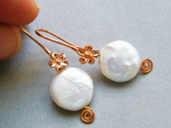 Copper coins flower | Coin Fresh Water Pearl and Copper Flower Earrings by elinoryamin