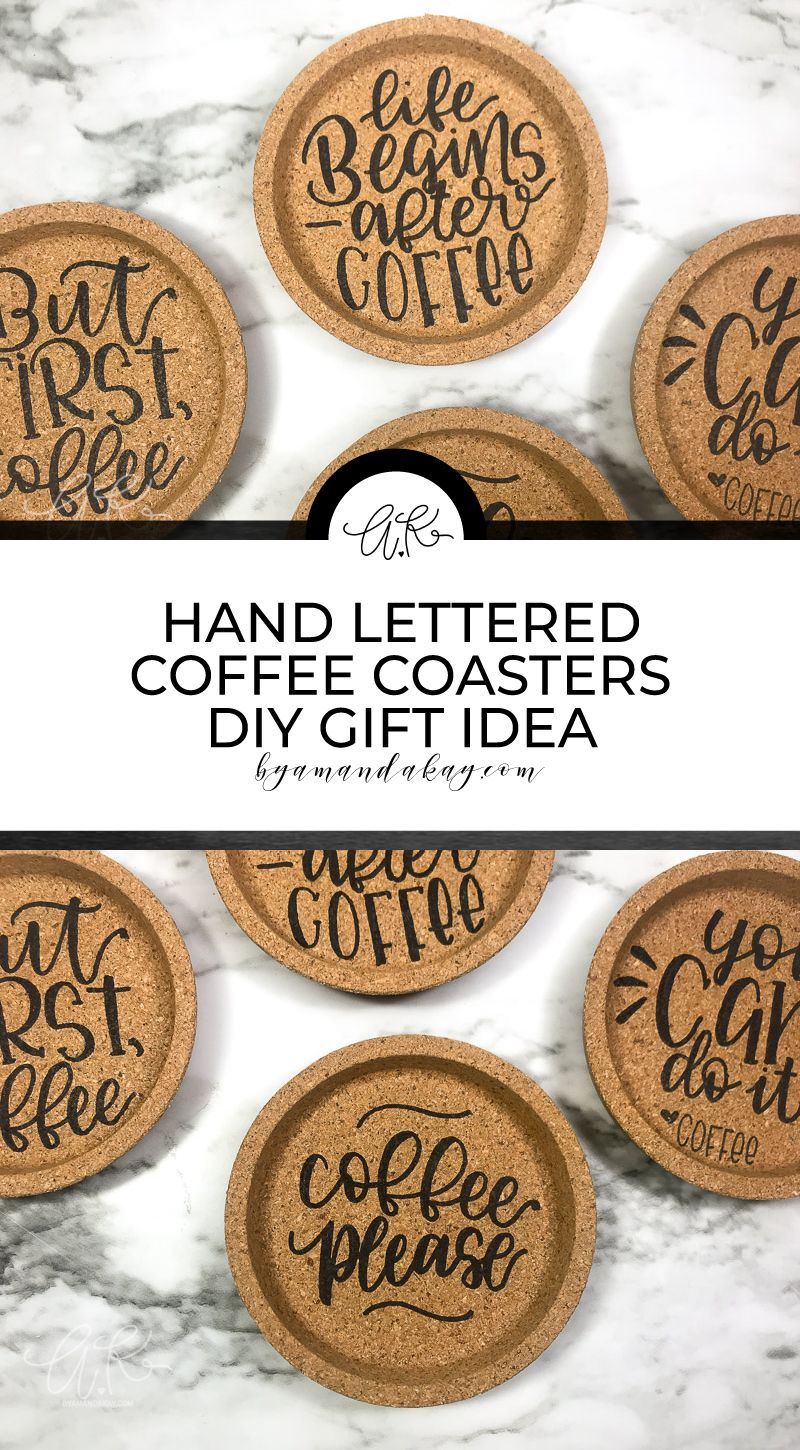 I had no idea how easy it is to hand letter on cork! Totally making some of these hand lettered cork coasters for the coffee lover on my gift list! #cork #corkcoaster #handlettered #homedecor #coffeequotes #byamandakay