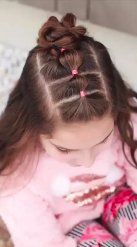 Half Up Bubble Braid Bun -   18 dressy hairstyles For Kids ideas