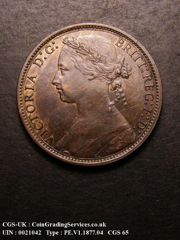 1877 penny victoria - England