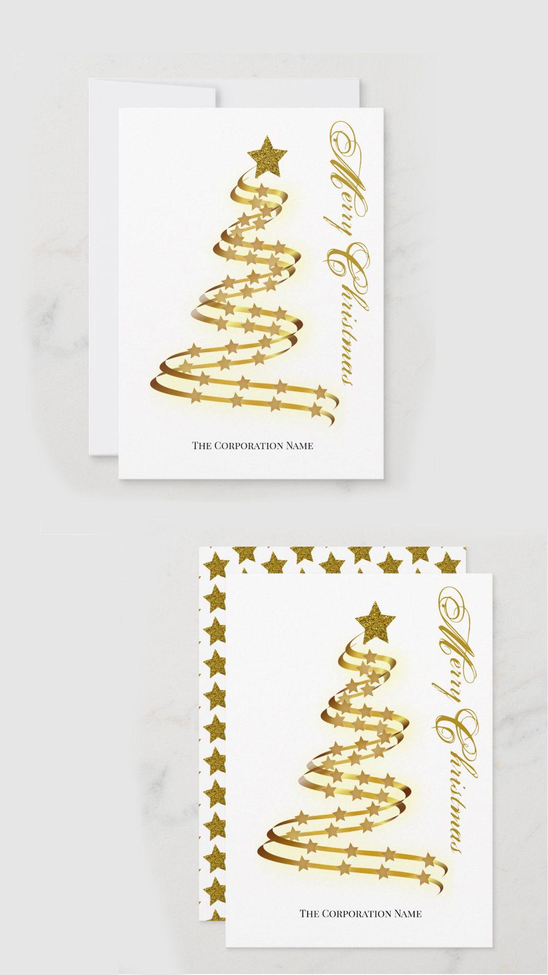 Elegant Modern Gold Christmas Flat Card Christmas Cards Gold Artwork Modern Christmas