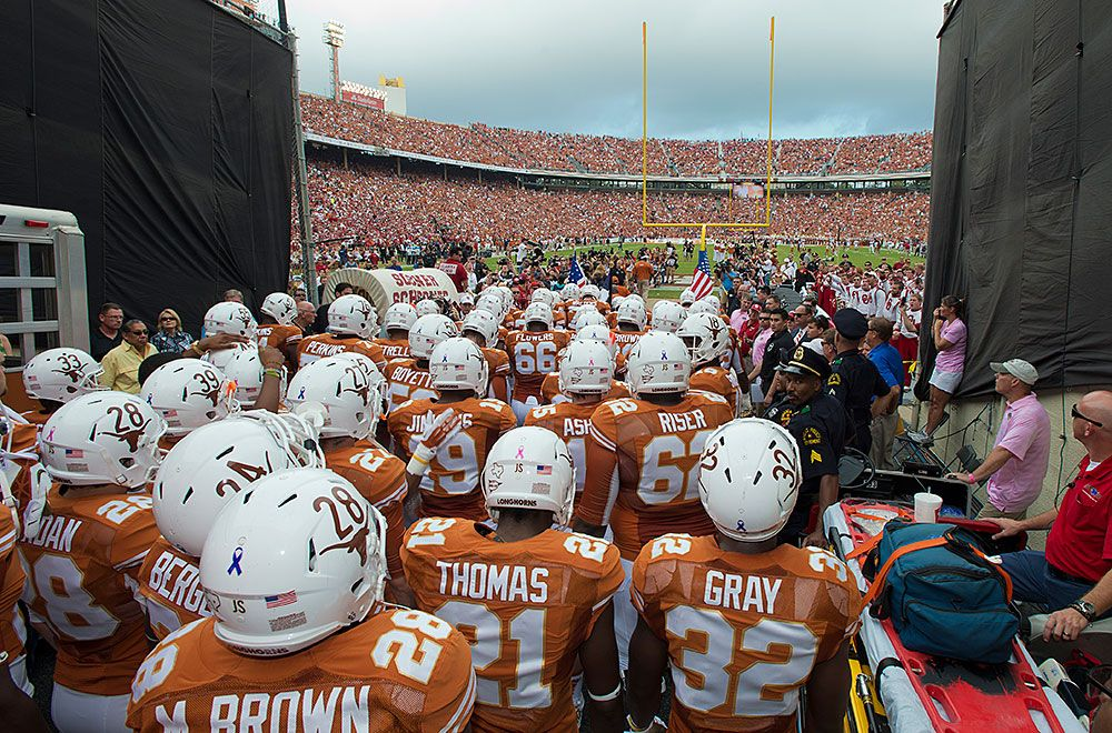 Texas Football Enters The Field Via The Cotton Bowl Tunnel