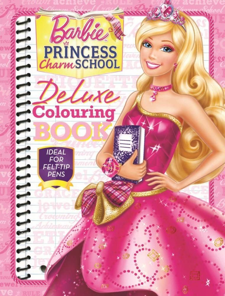Barbie Princess Charm School Deluxe Colouring Book Ideal For Felt Tip Pens By
