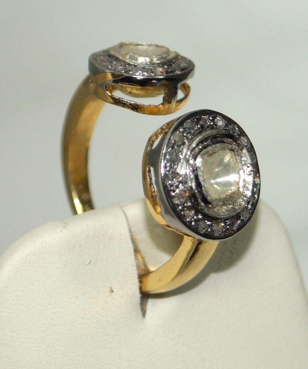 Victorian look 1.80ct Rose Cut Uncut Diamond Sterling Silver Open Designer Ring by Pavediamondjewels on Etsy