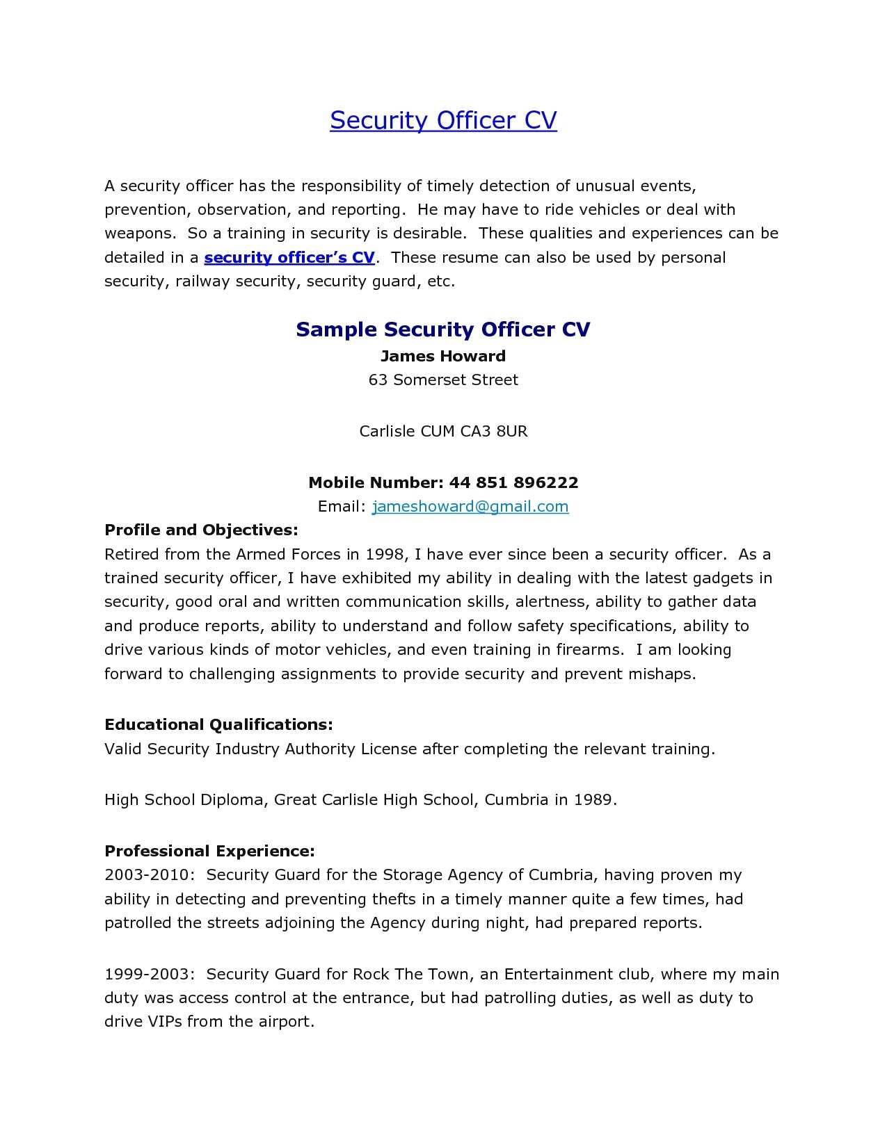 Related Image Security Officer Security Guard Jobs Security Resume