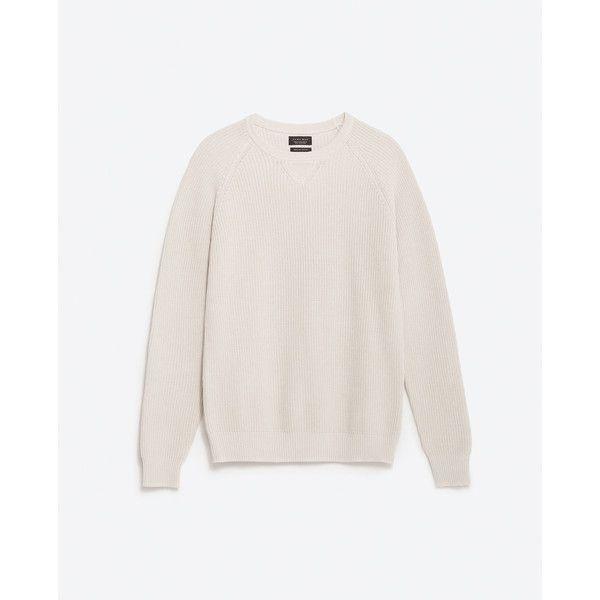Zara Pearl Knit Sweater (€37) via Polyvore featuring men's fashion, men's clothing, men's sweaters, ecru et mens knit sweater