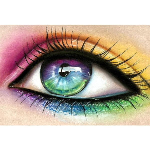 Pinspire Pretty Rainbow Eye Liked On Polyvore Featuring