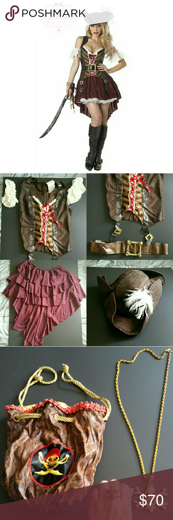 Sexy Pirate Halloween Costume Sexy Pirate Halloween Costume, like new! Worn only once and comes with everything orginally included plus more! The costume includes feathered hat, detachable ruffle sleeves, sleeveless top with lace up bodice, high/low skirt, and belt with skull buckle. Size Small. The extras are in the 3rd photo which include the really cute pirate bag, medallion necklace, and adjustable ring. Other