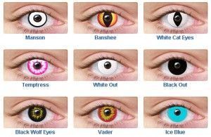 Non Prescription Colored Contacts >> Non Prescription Colored Contact Lenses Black Out White Out Wolf