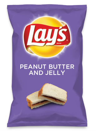 Wouldn't PEANUT BUTTER AND JELLY be yummy as a chip? Lay's Do Us A Flavor is back, and the search is on for the yummiest flavor idea. Create a flavor, choose a chip and you could win $1 million! https://www.dousaflavor.com See Rules.