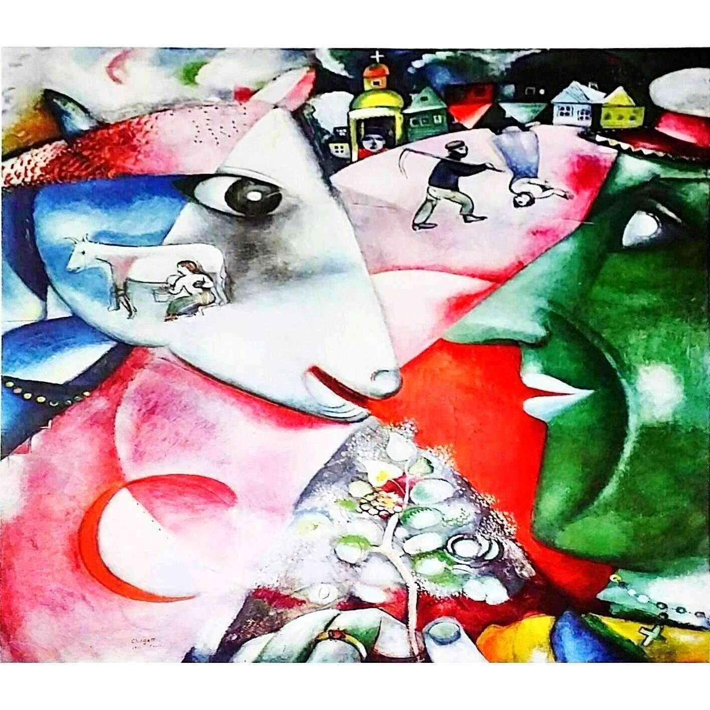 """1989 VINTAGE /""""CHAGALL KUNSTHAUS ZURICH/"""" MOURLOT MINI POSTER COLOR Art Lithograph"""