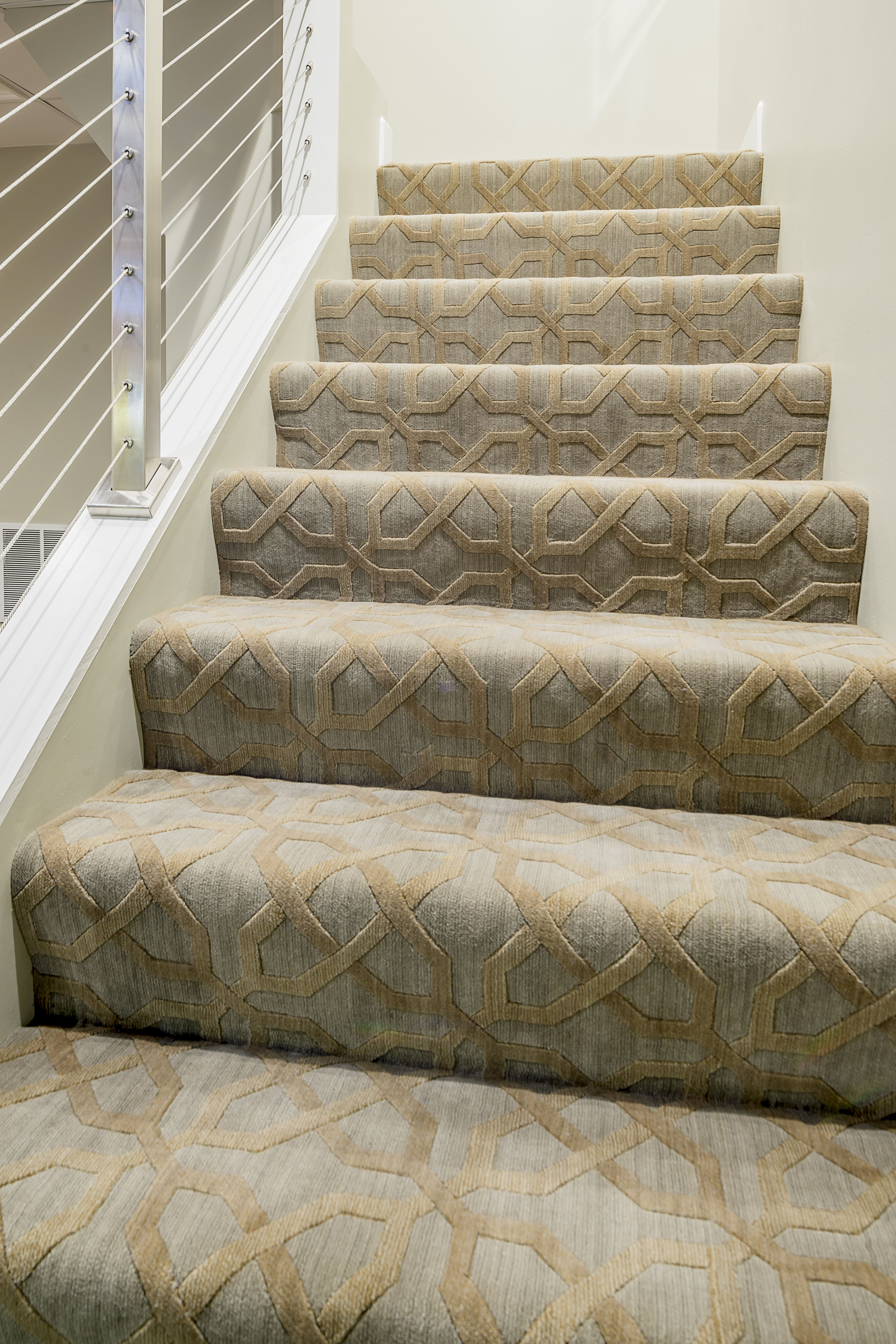 Modern Staircase Nourison S Uptown In Cobblestone Carpet Carpet Stairs Patterned Stair Carpet Stairway Carpet