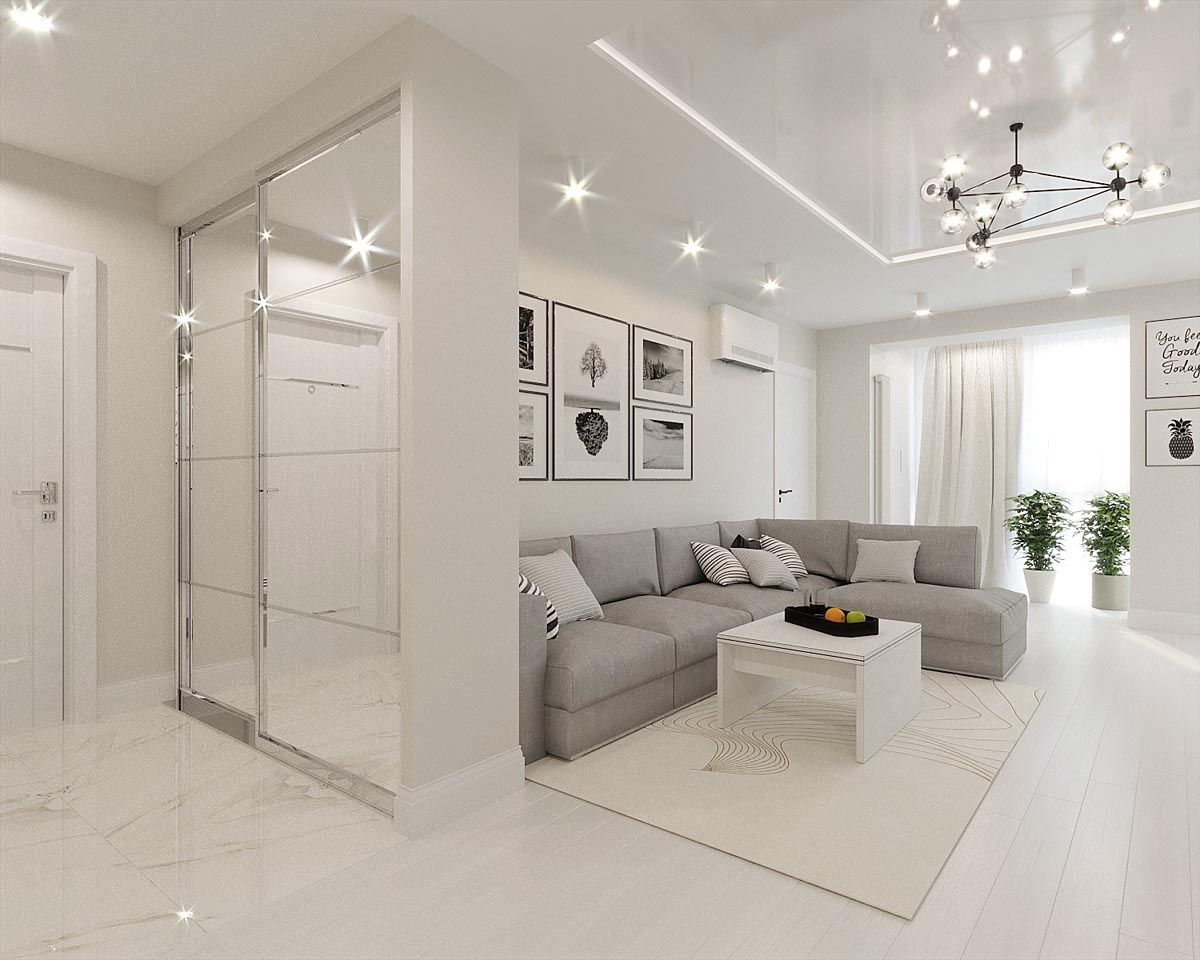 White Grey Interior Design In The Modern Minimalist Style Grey Interior Design White Interior Design White Interior