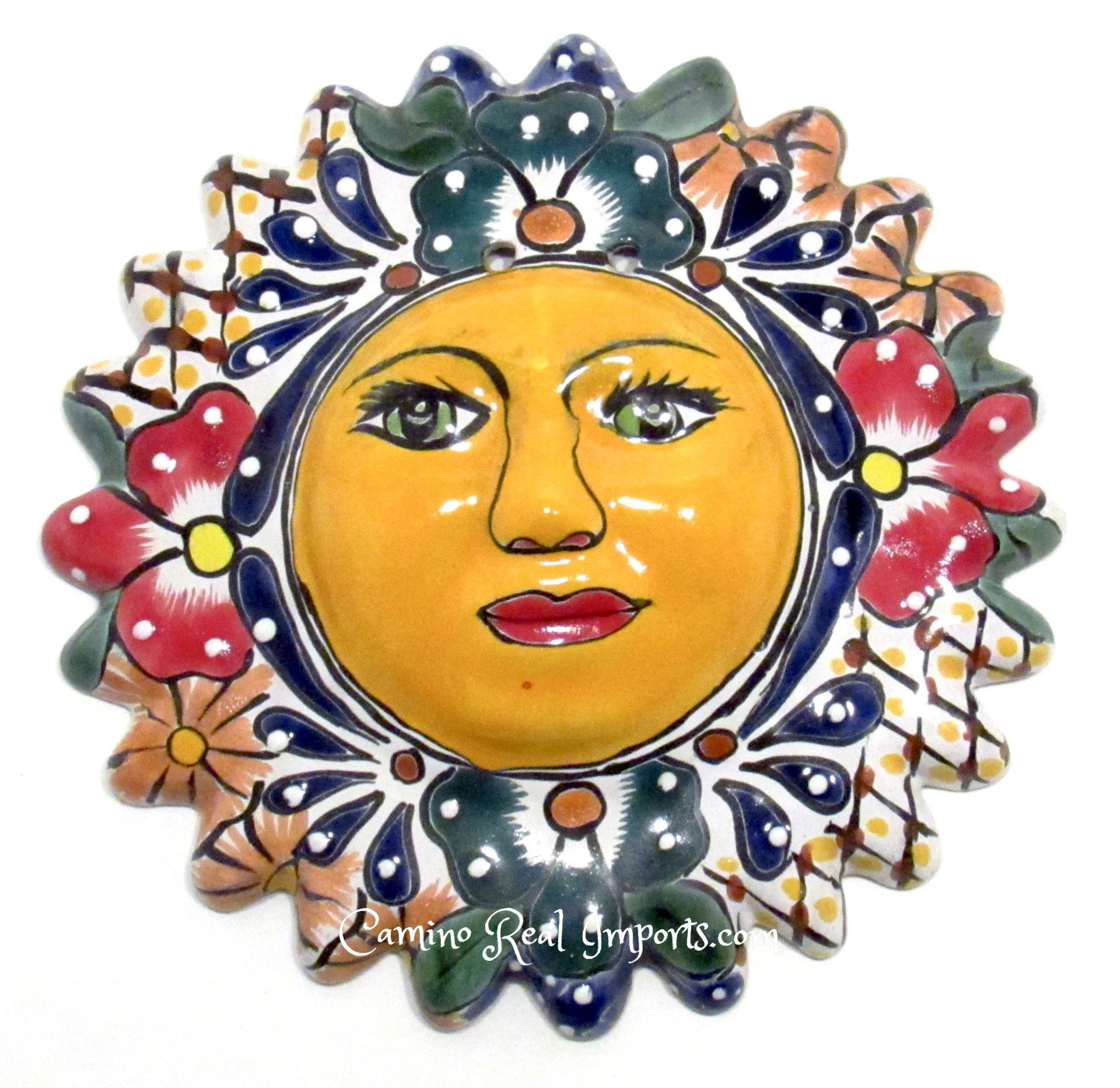 Mexican wall hanging talavera pottery sun face ts002 | Products