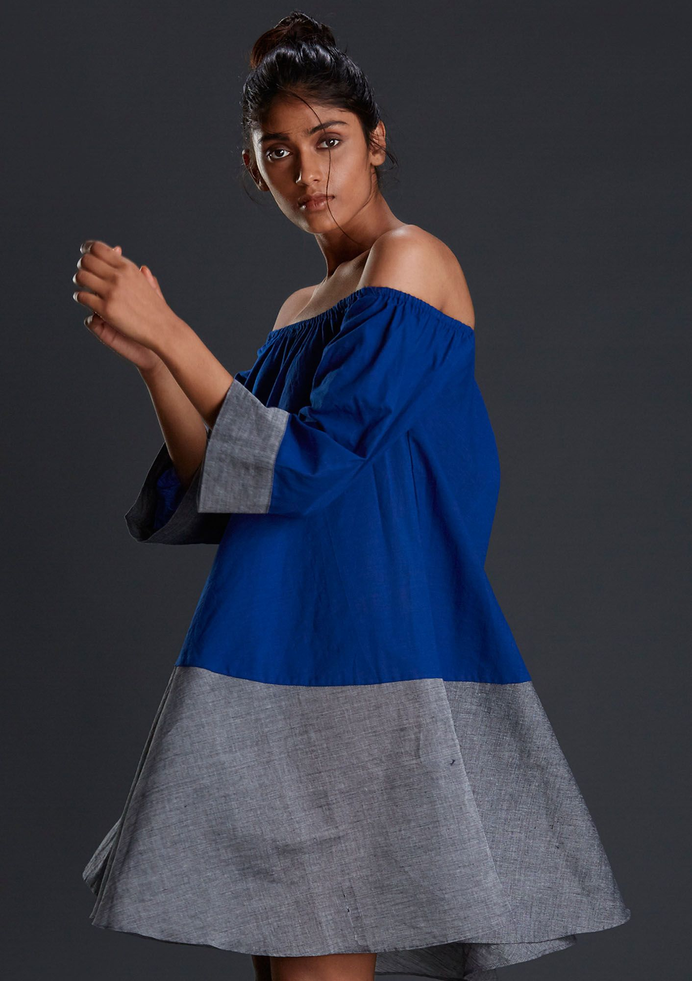 Handwoven off shoulder blue dresses mtoca blue this handwoven off