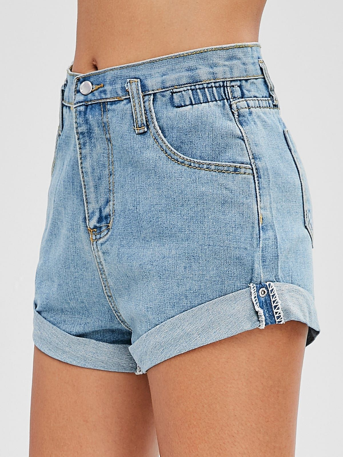 8b693faa956 High Waisted Denim Cuffed Shorts in 2019 | yo en verano | Denim shorts,  Denim, Black denim