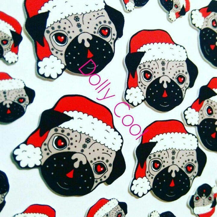 Pug Brooch Christmas Sugar Skull Style by Dolly Cool Dog