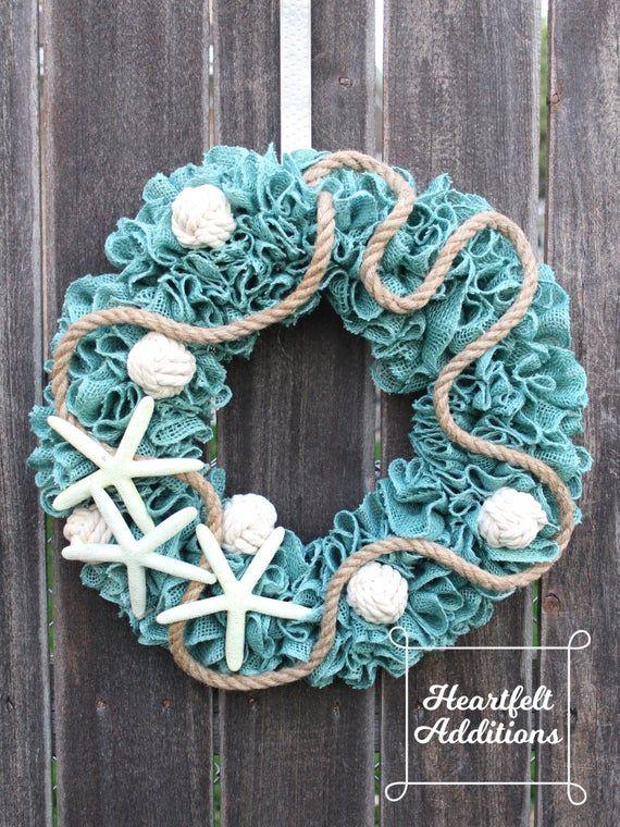 Photo of Coastal Burlap Wreath ~  Coastal Decor ~ Nautical Wreath ~ Beach Wreath ~ Starfish Wreath ~ Coastal Wreath ~ Summer Burlap Wreath
