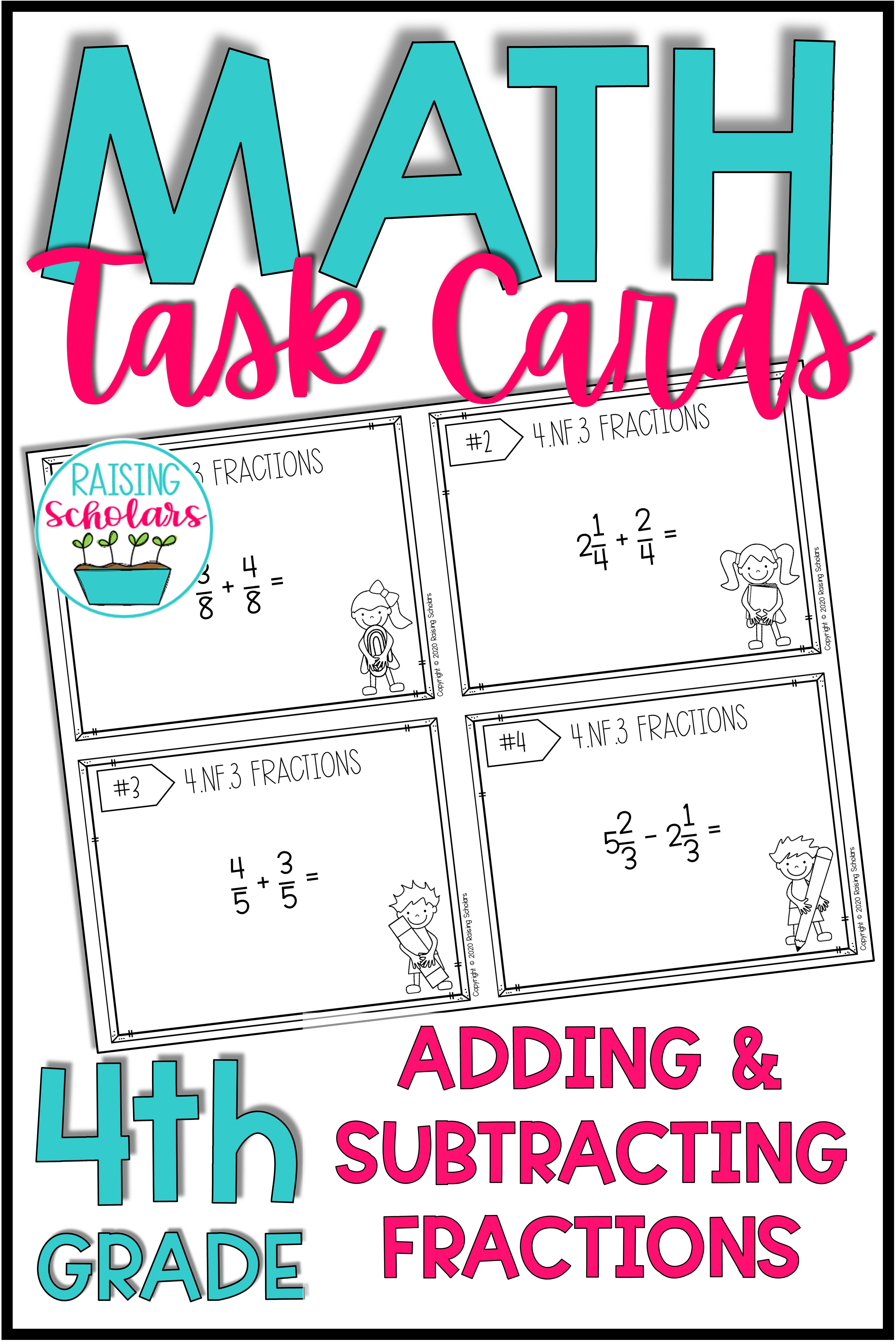 Adding Amp Subtracting Fractions Task Cards In