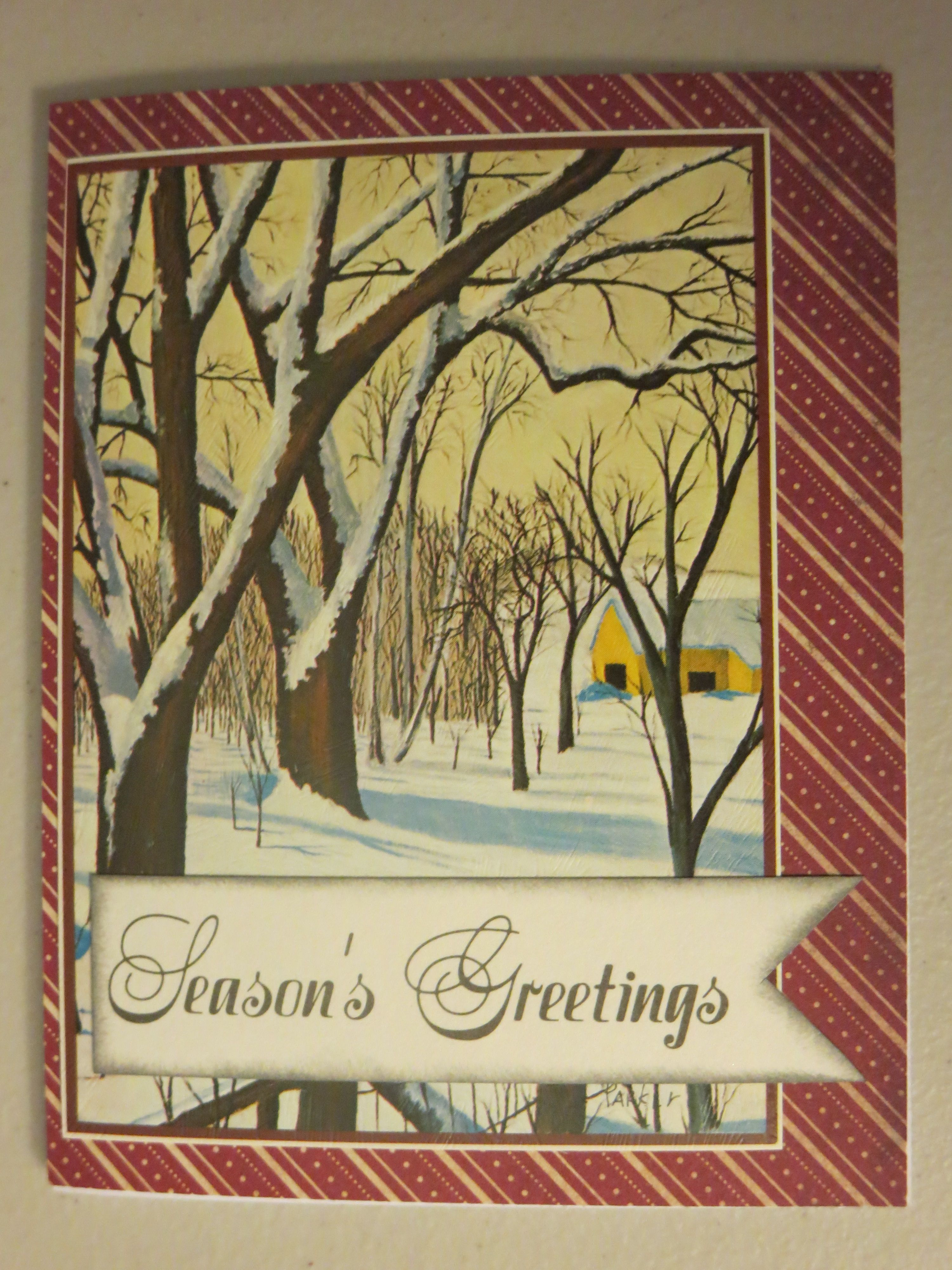 #4 Re-make of a card from last year. Chopped out vintage card front, added a mat, distressed greeting chopped from interior of card. Attached to white card base.