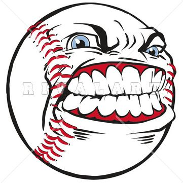 Sports Clipart Image of Vector Graphic Mean Baseball With Face ...