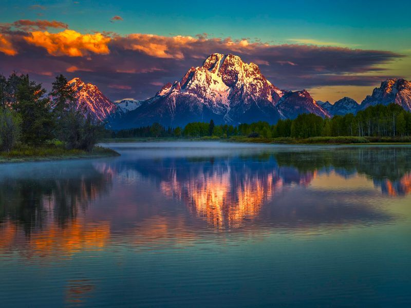 Mountains reflection sunrise colorful scenery high - High definition colorful wallpapers ...
