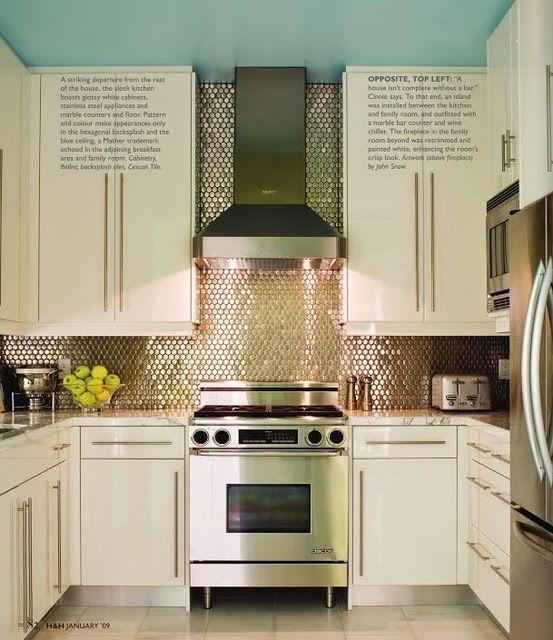 Gorgeous Silver Penny Tiles White Cabinets Clean Liances Turquoise Beautiful Kitchen