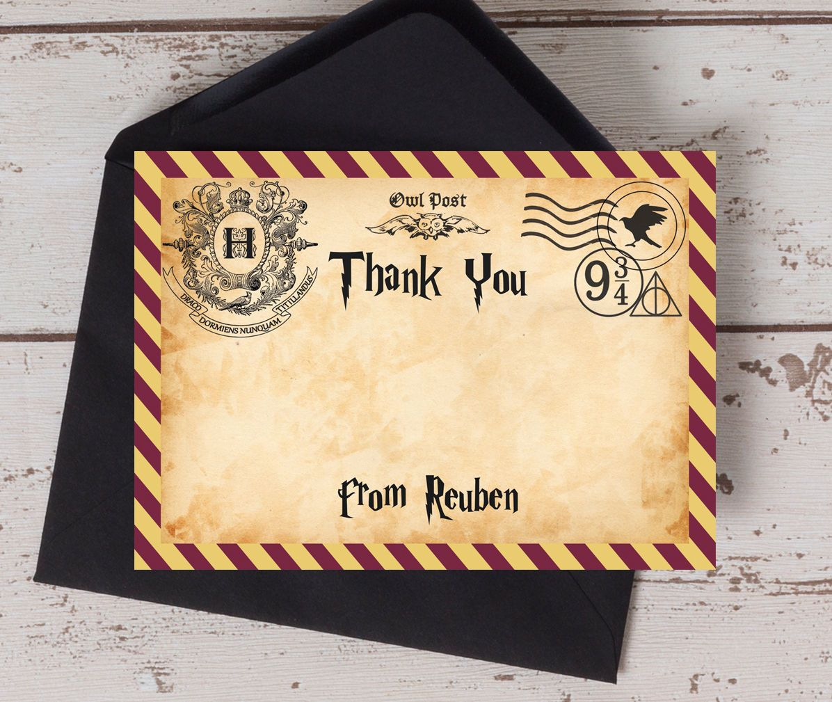 Harry Potter Inspired Witches Wizards Kids Thank You Cards Personalised Printable O Harry Potter Birthday Cards Harry Potter Cards Harry Potter Invitations