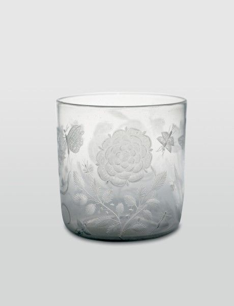 """17th century German (Nuremberg) Beaker at the Historisches Museum, Basel - From the curators' comments: """"Though lacking the usual small ball feet, the beaker has a shape characteristic for Nuremberg, one which lent itself to glass cutting, diamond point engraving or 'Schwarzlotmalerei' (enamelling in black or sepia). Such very early engraved decoration with flowers and insects executed in the stiff manner of woodcuts is extremely rare."""""""