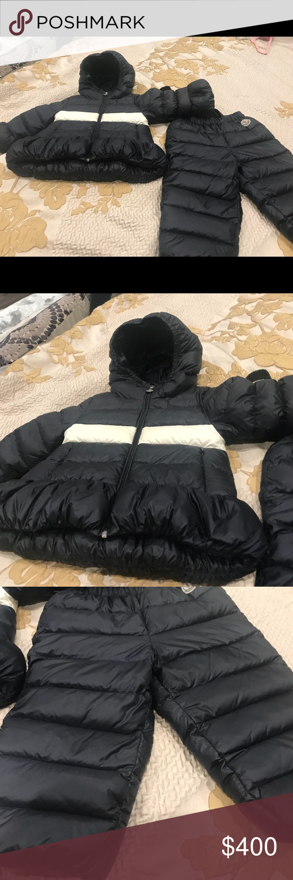 50fc8d1a0 Moncler girls snow suit jacket and pants Blue and white moncler ...