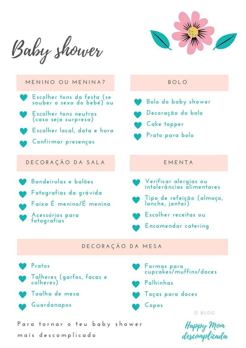 Lista Descomplicada Para Baby Shower Para Imprimir Printables