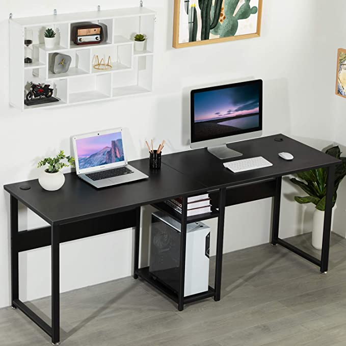 Amazon Com Sedeta Double Workstation Desk 78 Inches Dual Desk Two Person Computer Desk With Storage Extra L In 2020 Desk And Chair Set Workstation Home Office Desks