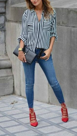 Stripes + red lace up heel. | Red shoes outfit, Red shirt