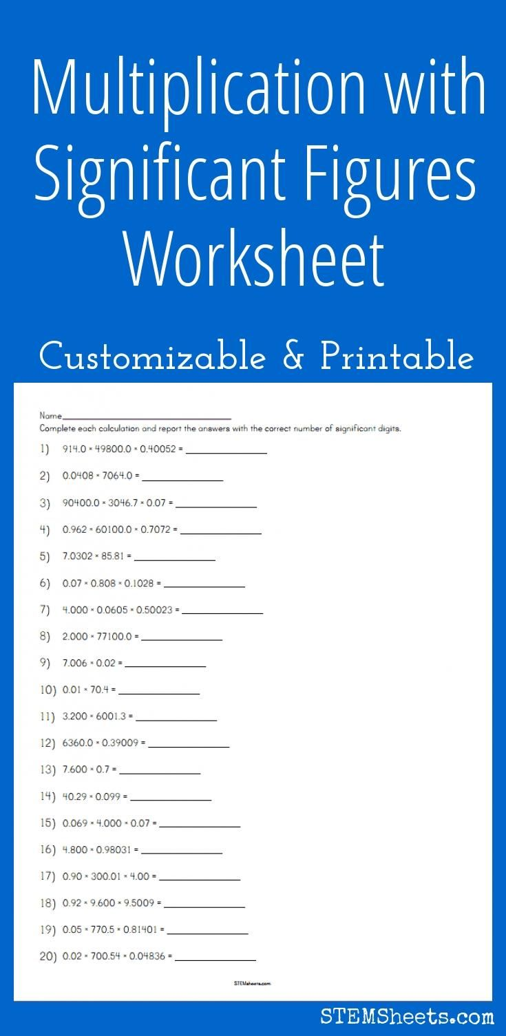 Multiplication With Significant Figures Worksheet Customizable And