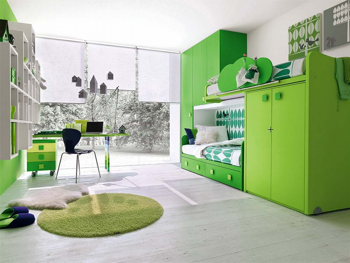 Bedroom ideas with loft bed  Green Bunk Bed  Kids  Pinterest  Bunk bed Lofts and Room