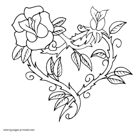 Roses Heart Coloring Page For Valentine S Day Heart Coloring Pages Rose Coloring Pages Coloring Pages