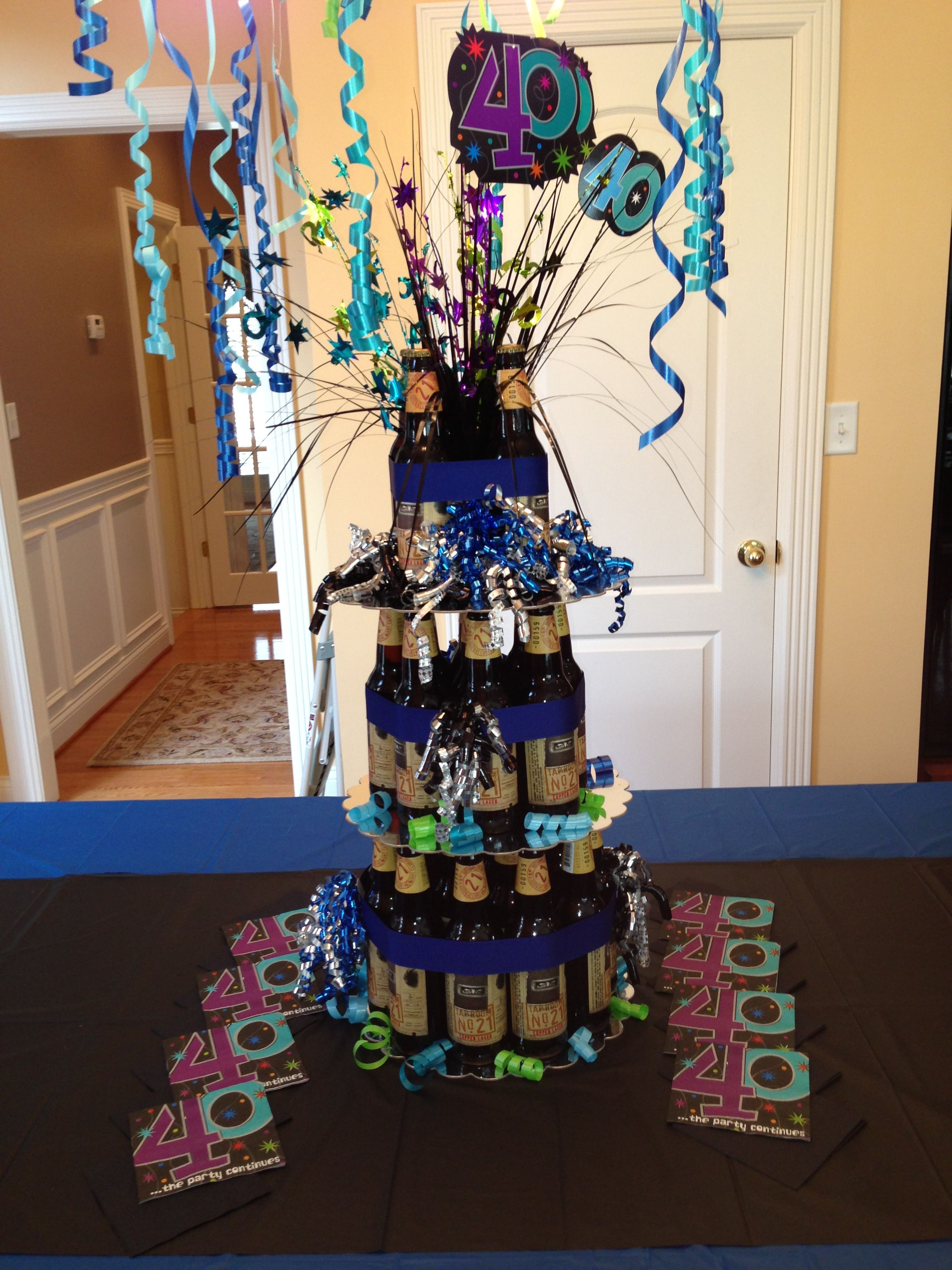Beer Cake Using Bottled For My Husbands Surprise 40th Birthday Party Fab Centerpiece