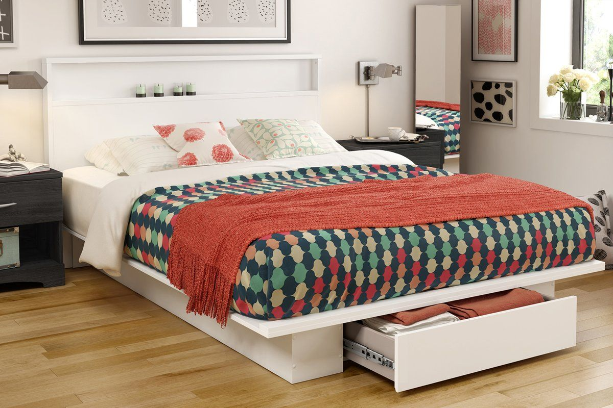 Holland Queen Platform Bed Platform bed with drawers