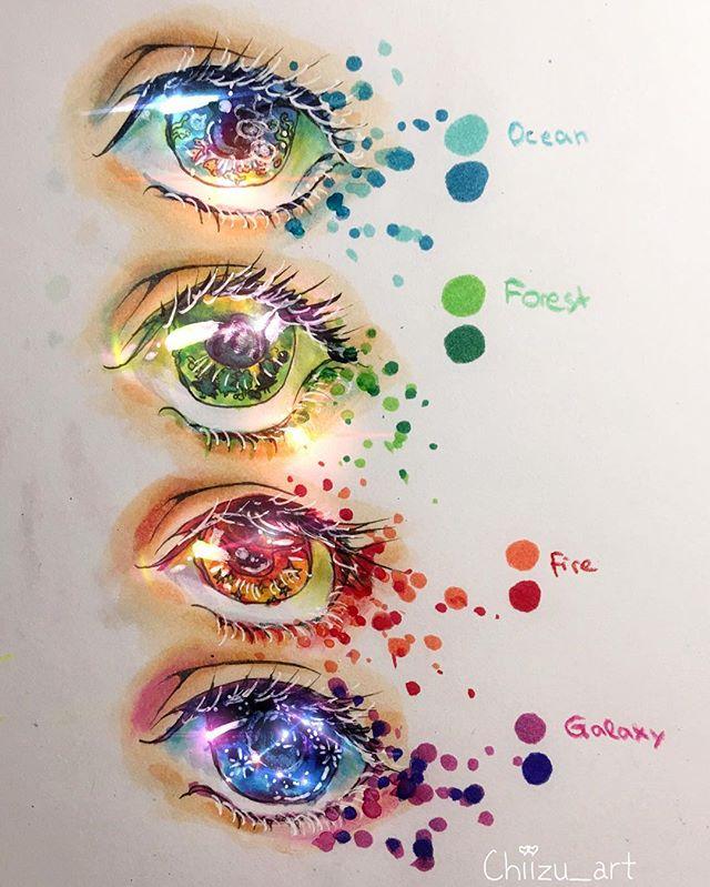 Manga Eyes Chiizu Art No Instructions Copic Markers Colored Pencils Gel Pen Digital Light Effects Eyes Manga Eye Art Anime Eye Drawing Marker Art