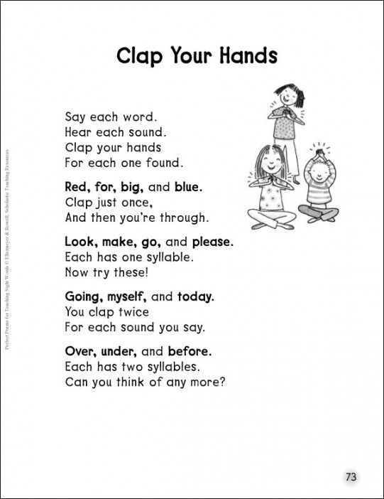 clap your hands counting syllables sight words poem teaching